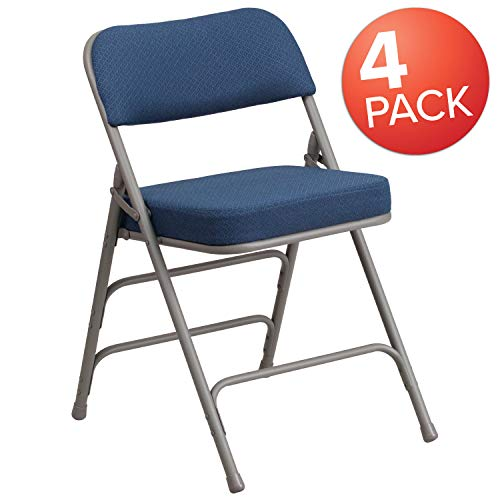 Flash Furniture 4 Pk. HERCULES Series Premium Curved Triple Braced & Double Hinged Navy Fabric Metal Folding Chair ()