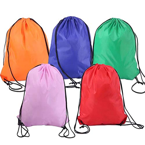 Lainrrew 5 Pcs Multicolored Drawstring Backpack Bags, Lightweight Cinch Bag Gym Bags Storage Bags for Gym Traveling Sports