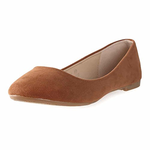 Bella Marie Womens Stacy-12 Suede Flats Light Brown 7 B(M) US ()