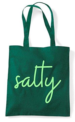 Hashtag Salty Quote Shopper Tote Green Statement Dark Bag 1qPqv5w