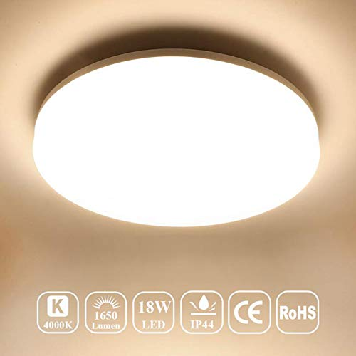 Airand 4000K Ceiling Lights LED Flush Mount 18W Ceiling Lamps 9.5 Inch Flush Ceiling Light Fixture for Kitchen Bathroom Hallway Stairwell, 1650 Lumens, Waterproof IP44, 80Ra (Bright White)