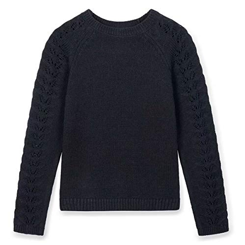 Kid Nation Girls' Crewneck Eyelet-Sleeve Knit Sweater L Black