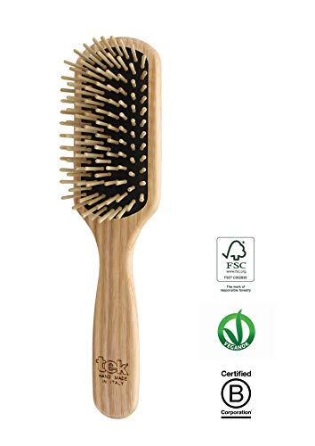 - Tek small paddle hairbrush in ash wood with regular pins - Handmade in Italy