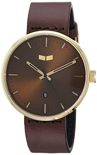 Vestal 'Roosevelt Italian' Quartz Stainless Steel and Leather Dress Watch, Color:Brown (Model: RS42L05.DB)