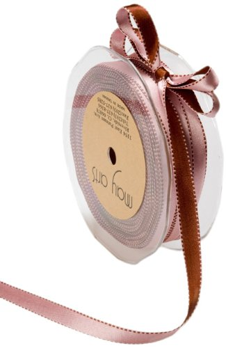 May Arts 3/8-Inch Wide Ribbon, Pink and Brown Satin by May Arts