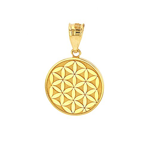 Disc Pendants and Necklaces Dainty 14k Yellow Gold Flower of Life Sacred Geometry Charm Pendant