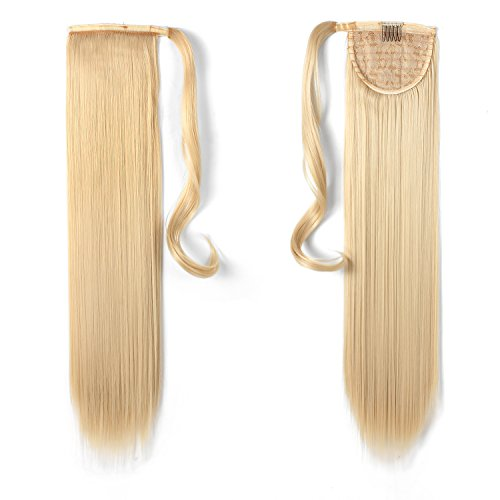 """Price comparison product image OneDor 24"""" Straight Wrap Around Ponytail Extension for Woman Synthetic Hair 120g-130g (613#-Pre Bleach Blonde)"""