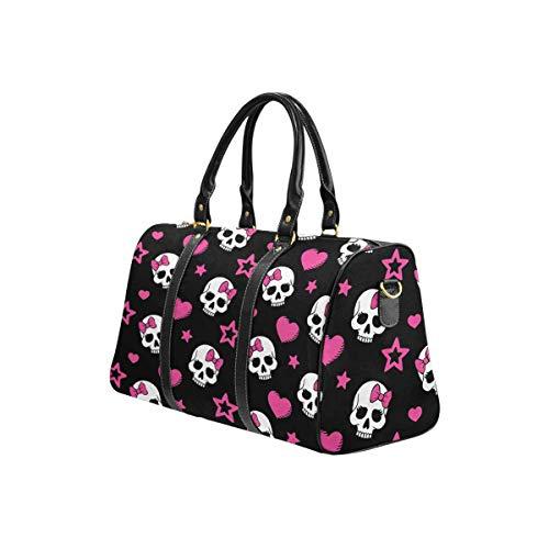 InterestPrint Waterproof Travel Bag Sports Duffel Tote Overnight Bag Hearts and Skulls