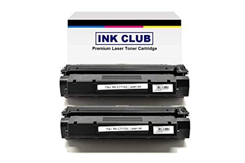 InkClub 2PK Laser Toner Cartridge Replacement for C7115A 15A Black Toner Cartridge