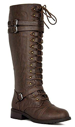 - Wild Diva Women's Fashion Timberly-65 Military Knee High Combat Boots Shoes Brown Wet Pu 8