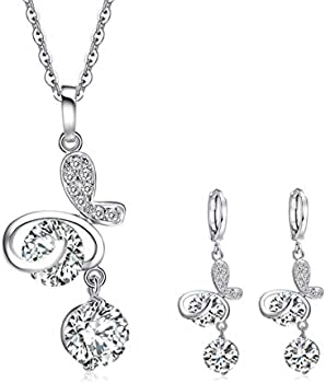 Crazy Feng Women's Wedding Bridal Necklace Set