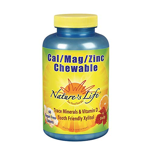 (Nature's Life Cal Mag Zinc Chewable | 100% Plus Daily Value of Calcium, Magnesium, Zinc & VIT D3 for Bone & Heart Health Support | 60 Sugar Free Chews)