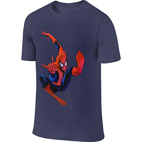 Syins Mens Custom Humor Tees Spider Man Peter Parker Tshirts Navy