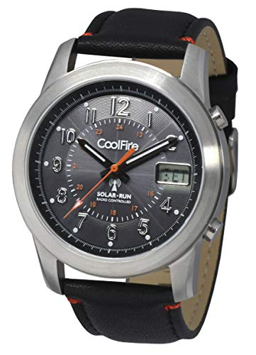 COOLFIRE I Solar Atomic Watch! Military Solar Power Radio Controlled Watch (1534B) (Best Radio Controlled Watches)