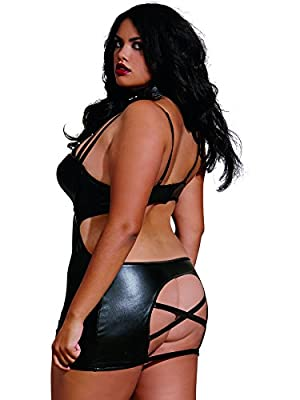 Dreamgirl Women's plus-size Plus Size Faux-leather Dress With Spiked Collar