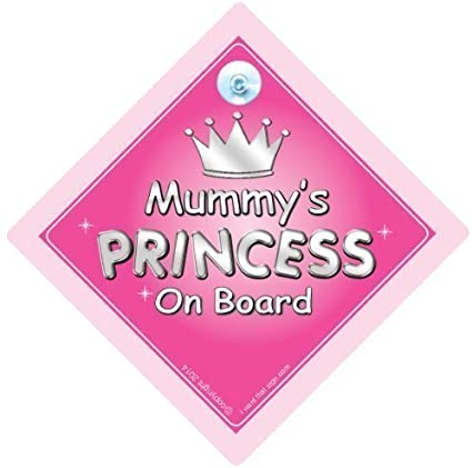 Personalised Child//Baby On Board Car Sign ~ Mummys Princesses ~ Pink