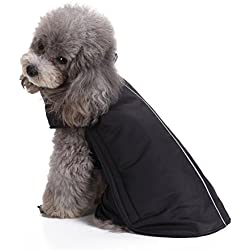 Scheppend Dogs Vest Fleece Jacket Pet Winter Warm Coat Dog sweater Apparel for Cold Weather, Black XS