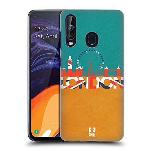 Head Case Designs Skyline Teal and Gold London Cityscape Hard Back Case Compatible for Samsung Galaxy A60 (2019)