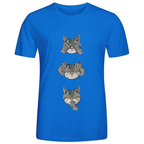 Ashome No Evil Cat T Shirt Men Funny Round Neck Blue