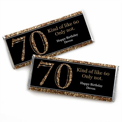 Custom Adult 70th Birthday - Gold - Personalized Birthday Party Favors Candy Bar Wrappers - Set of 24