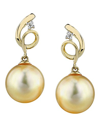 Golden South Sea 11mm Pearl (THE PEARL SOURCE 14K Gold 10-11mm Round Genuine Golden South Sea Cultured Pearl & Diamond Symphony Earrings for Women)