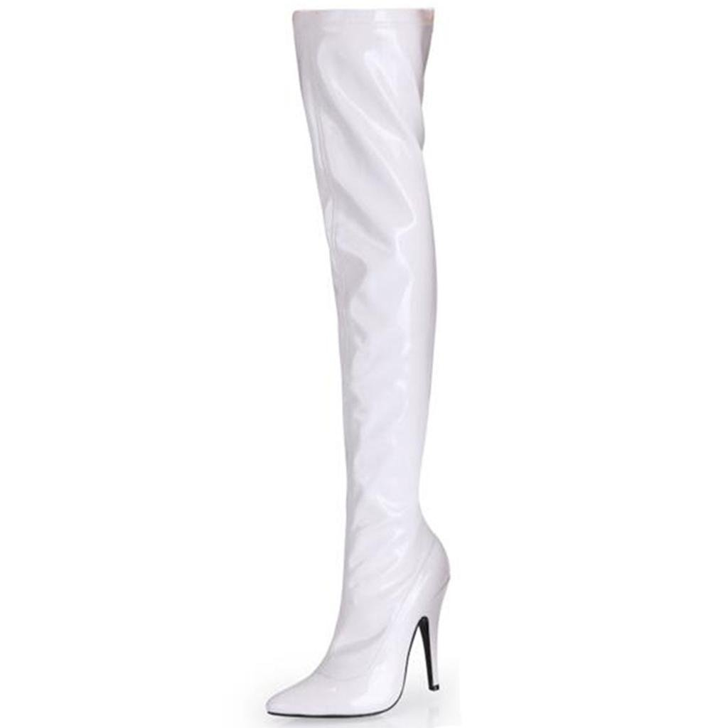 White LEIMINGshoes L&L Women's High Heel Boots Ladies Fine with Pointed Patent Leather Elasticity Knee Boots High Boots Brass Boots