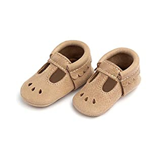 Freshly Picked - Rubber Mini Sole Leather Mary Jane Moccasins - Toddler Girl Shoes - Size 5 Weathered Brown