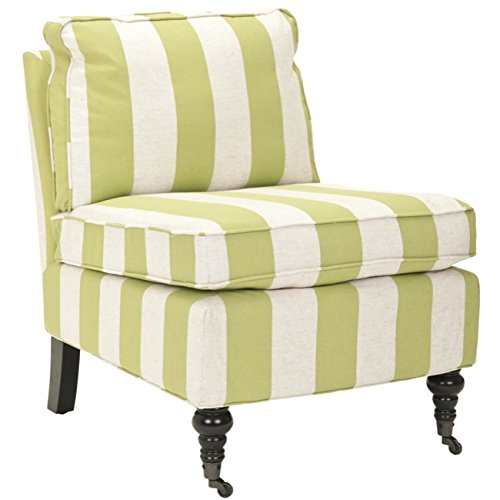 Safavieh Mercer Collection Ally Green and White Striped Club Chair (Green And White Accent Chair)
