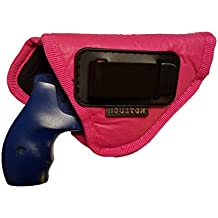 IWB Gun Holster by Houston | Pink ECO LEATHER Concealed Carry Soft Material | Suede Interior for Maximum Protection | Fits: Any 38 J Frames | S&W Revolvers | Charter Arms | Rossi 38 | Taurus BG LCR.