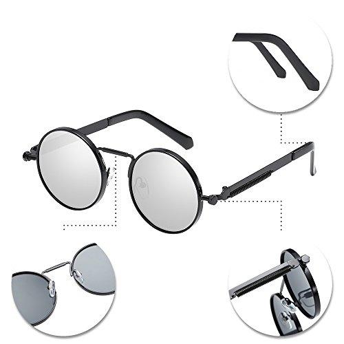 Steampunk femmes soleil Lunettes UV hommes et BOZEVON protection blanc lentille avec en pour rond 400 cadre de Noir métal 7gwwYx