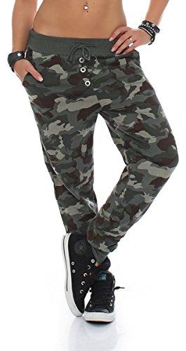 Boyfriendhose im Camouflage Design Baggy Freizeithose Jogginghose Yogapants Haremshose Sweatpants Jogger Haremshose Training Sporthose 8019 Damen One Size (oliv)