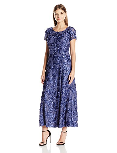 Alex Evenings Women's Long a-Line Rosette Dress with Short Sleeves Sequin Detail, Dove, 18