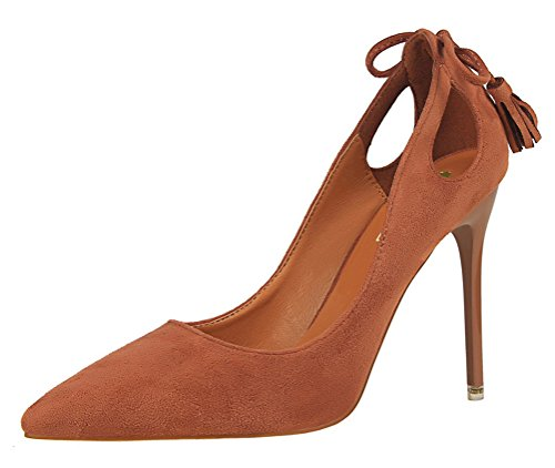 Video Modelle In Costume (T&Mates Womens Fashion Pointed Toe Slip-ons Hollow Out Stiletto Heel Bow Tassels Suede Pumps Shoes (5.5 B(M) US,Khaki))