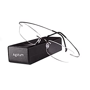 Agstum Pure Titanium Rimless Frame Prescription Hingeless Eyeglasses Rx (Gun metal, 55)
