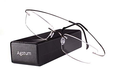 Rimless Frame Prescription Hingeless Eyeglasses Rx (Gun metal, 55) ()
