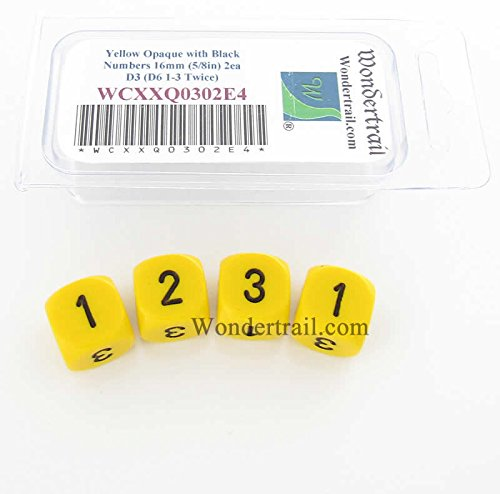 Yellow Opaque Dice with Black Numbers D3 (D6 1-3 Twice) for sale  Delivered anywhere in USA