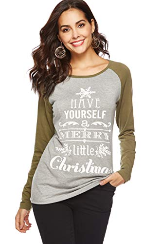 WOAIVOOU Womens Long Sleeve Have Yourself a Merry Little Christmas Printed Sweatshirt Blouse Top T-Shirts L