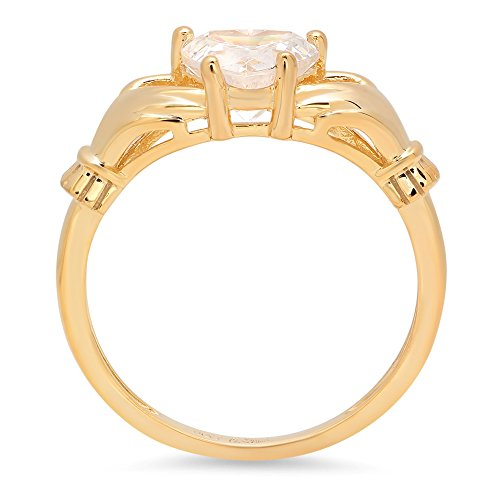 1.45ct Brilliant Heart Cut Irish Celtic Claddagh Solitaire Anniversary Statement Engagement Wedding Promise Ring in Solid 14k Yellow Gold for Women, 9.75 by Clara Pucci (Image #1)