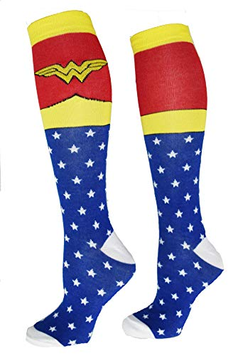 Wonder Woman Superhero Socks, Shoe Size: 4-10 (Knee High, Blue) -