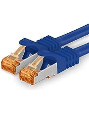 1,5 m - Cat.7 nätverkskabel blå - 1 bit Gigabit Ethernet LAN-kabel 10000 Mbit s patchkabel Cat7-kabel S FTP PIMF-skärmning LSZH Cat.7 råkabel Rj45-kontakt Cat 6a - 1 x 1,5 meter