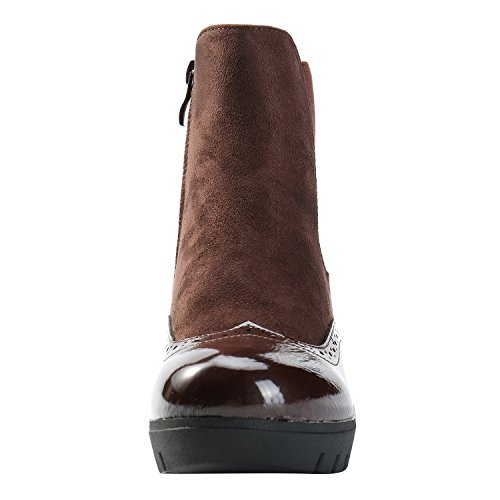 Ankle Alexis Leroy Chelsea Heel Women's Brown Boots Slipper Wedge Style 00xrPwp