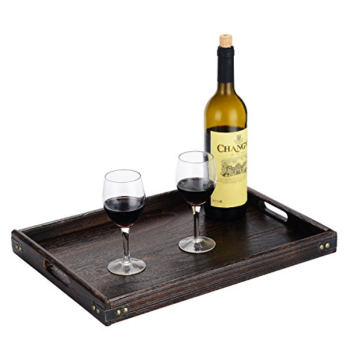 JPCRAFT Simply Espresso Brown Rectangle Wooden Serving Tray, 17 by 12-Inch by JPCRAFT (Image #6)