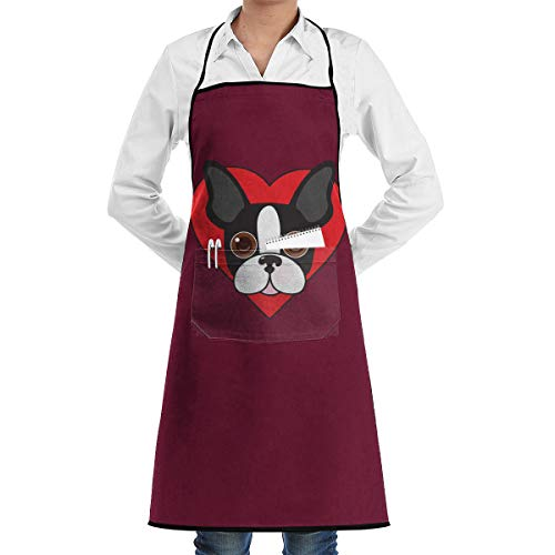 (JNSHO-G Home Aprons with Convenient Pocket, Boston Terrier in Heart Bib Apron for Your Wife and)
