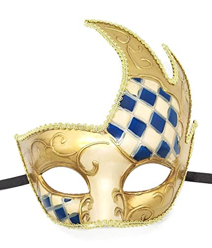 Coolwife Men's Masquerade Mask Vintage Venetian Checkered Musical Party Mardi Gras Mask (Y Navy Blue) ()