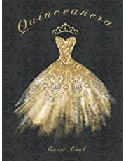 Quinceañera Guest Book: 15h Birthday Party Guestbook Guests Signing In and Memory Keepsake Gift Black and Gold Diamond Dress & Crown