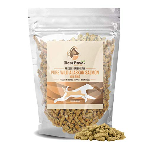 Pure Paw Nutrition Salmon Dog Treats Raw Grain Free One Ingredient 100% Natural Freeze Dried Toppers for Dogs Puppies…