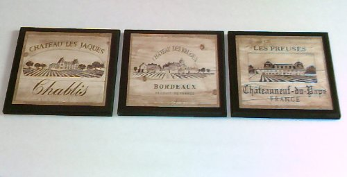 Ozark Mountain Homestead Wine Crate Style Plaques, 3 Piece Set, Kitchen Wall Decor Signs, Vineyard Scenes (Tuscan Scene)