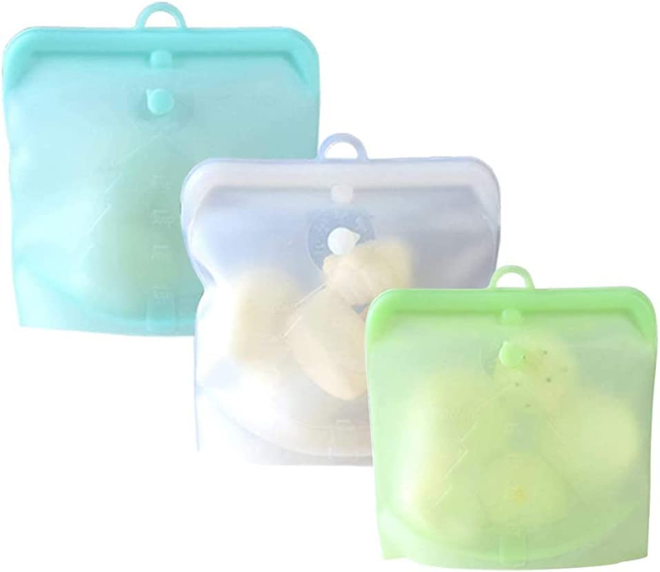 Reusable Food Storage Bags, Food Grade Silicone, Cook, Store, Freeze, Microwave Safe, Airtight, Set of 3, 16oz+32oz+48oz (style1)