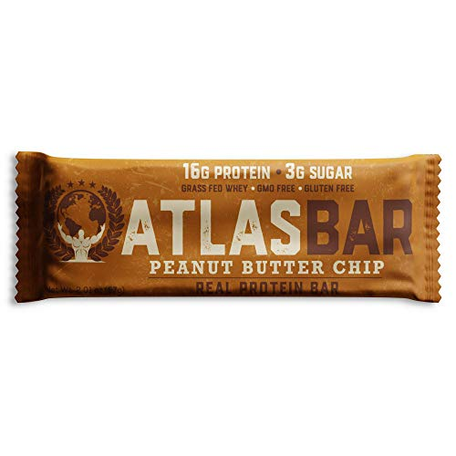 Low Carb Energy Bars - Atlas Bar - Keto/Low Carb Friendly Protein Bar, Peanut Butter Chip, 2.01 Ounce (12-Pack) — Grass Fed Whey, Low Sugar, All Natural, Gluten Free, Soy Free, and GMO Free