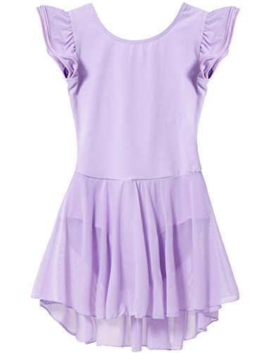 Dance Leotard with Skirt Flutter Sleeve by Mdnmd (Tag 120) - Age 4 - 6 Purple)